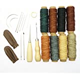 Yalulu 22Pcs Leather Working Tools, Durable 50 Meter 1mm 150D Leather Waxed Thread Cotton Cord String Needles Drilling Finger Protection for DIY Handicraft Tool Hand Stitching Thread
