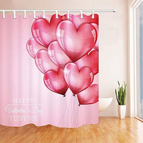AdaCrazy Valentinstag Duschvorhang Herzförmige Ballon Romantik Rosa Hintergrund Badezimmer Mehltau...