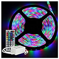 LED TV Backlight,Sixcup 5M RGB 3528 300 Led SMD Flexible Light Strip Lamp+44 Key IR Remote Controller for 40 to 60 Inch HDTV,PC Monitor,led Light Strip (Colorful)