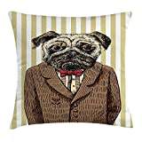 VICKKY Pug Throw Pillow Cushion Cover, Hand Drawn Sketch of Smart Dressed Dog Jacket Shirt Bow Suit Striped Background, Decorative Square Accent Pillow Case, 18 X 18 Inches, Brown Pale Brown
