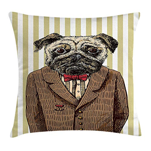Pug Throw Pillow Cushion Cover, Hand Drawn Sketch of Smart Dressed Dog Jacket Shirt Bow Suit Striped Background, Decorative Square Accent Pillow Case, 18 X 18 inches, Brown Pale Brown -