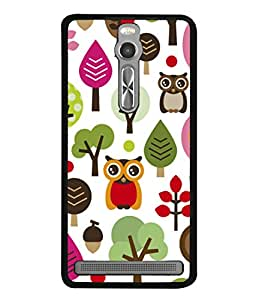 PrintVisa Designer Back Case Cover for Asus Zenfone 2 ZE551ML (Design Of Owl And Trees And Fruits)