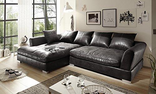 BIG Sofa - Vintage Schwarz Grau - Links - Sondermaße möglich