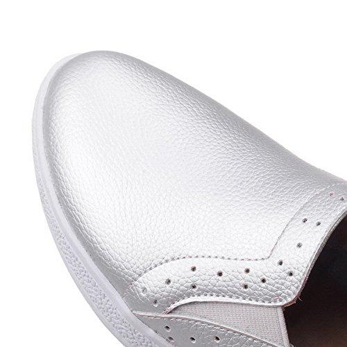 AllhqFashion Femme à Talon Bas Matière Mélangee Couleur Unie Tire Rond Chaussures Légeres Argent