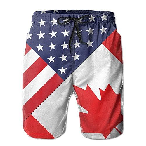 WTZYXS USA Canada Flag Summer Casual Breathable Board Shorts Swim Trunks Drawstring Striped Side Pockets XL - Short Sleeve Striped Khaki