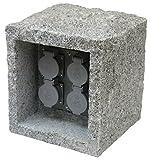 Klassische 4-fach Energieverteiler 230V aus Granit & Kunststoff Energiesäule für Terrasse/Garten Garten Terrassen außen