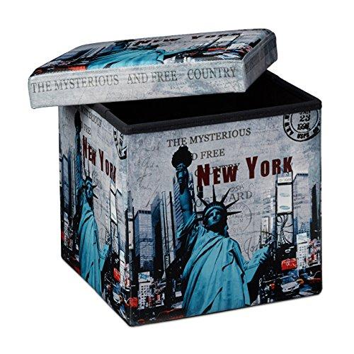 Relaxdays Faltbarer Sitzhocker 38 cm stabiler Sitzwürfel mit trendigen Motiven als praktische Fußablage als Sitzwürfel mit bedrucktem Kunstleder als Aufbewahrungsbox mit Stauraum und Deckel, New York