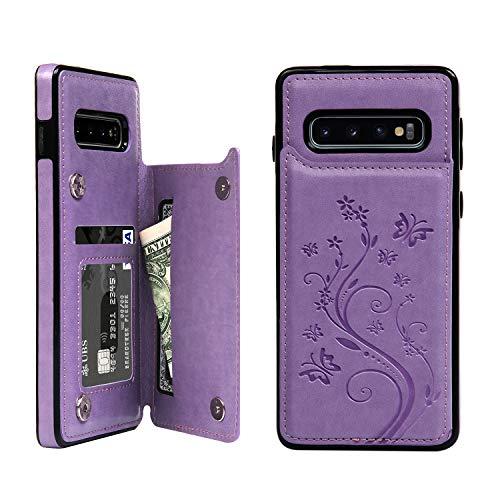 Promixc für Galaxy S10 Hülle, Premium Leder Flip Schutzhülle Doppelt Magnetic Snap mit Ständer Funktion Case Cover Brieftasche Handyhülle für Samsung Galaxy S10 - Lila Lila Cover Case Snap