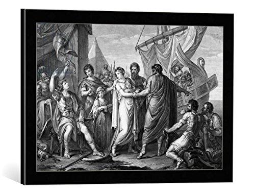 """Quadro con cornice: Gavin Hamilton """"The anger of Achilles for the loss of Briseis, engraved by Domenico Cunego, 1764"""" - stampa artistica decorativa, cornice di alta qualità, 60x40 cm, nero / angolo grigio"""