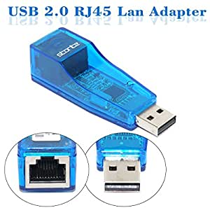 Storite LAN Adapter, USB 2.0 to Fast RJ45 Ethernet 10/100 Mbps Network Card for Windows, PC, Androids – Blue