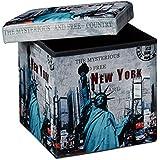 Relaxdays Tabouret pliant coffre de rangement pliable banc de stockage avec couvercle amovible 38 x 38 x 38 cm pouf en similicuir repose-pieds table appoint motifs tendances New York