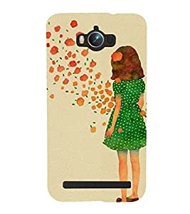 Printvisa Premium Back Cover Green Dress Girl Admiring Flowers Design For Asus Zenfone Max ZC550KL