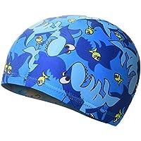 Moolecole Piscina Fresca Capuchón Protector de Orejas para Niños y el Cabello, Sombreros Coloridos de Natación con los Patrones de Animales Lindo Diseñó para Niños-Tiburón Azul
