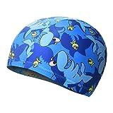 Moolecole Kinder kühlen Bademütze-Schutz Kinder Ohren und Haare,Bunte Schwimmen Hüte mit niedlichen Tiermuster für Jungen und Mädchen Entworfen-Blauer Hai