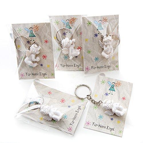 Mit Geschenk-karte Geschenk-korb (10 Stück kleine weiße Mini-Engel Schutzengel Engel-Anhänger Weihnachten Hochzeit Kinder-Geburtstag Kommunion 3,5 cm aus Gips mit kleiner Mini-Gruß-Karte