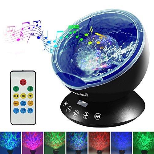 Preisvergleich Produktbild Emotionlite Ozean Wellen Projektor Nachtlicht mit eingebautem Mini-Musik-Player und Fernbedienung 12 LED & 7 Farben Modus für Kinder Erwachsenen Wohnzimmer und Schlafzimmer (Schwarz)