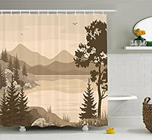 Apartment Decor Shower Curtain By Ambesonne Nature Theme Landscape With Trees Birds A Cloudy