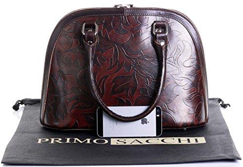 Cuoio italiano foglia Design goffrato Bowling stile manico mano borsa Shoulderbag.Include una custodia protettiva marca Marrone medio e marrone scuro
