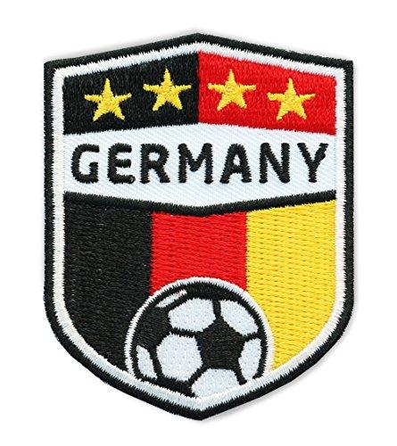 2er-Pack, Germany Fussball / Stick Abzeichen 70 x 55 mm / Stickerei, Aufbügler, Applikation, Patch, Bügelbild für Kleidung, Cap, Taschen / Fußball National Meister Team Dress Trikot Flagge Fan