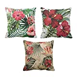 TYYC New Year Gifts for Home Hawaiian Floral Pattern Printed Cushion Covers Set of 3 - 16x16 inches