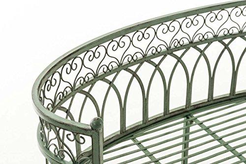 CLP Metall-Gartenbank AMANTI mit Armlehne, Landhaus-Stil, Eisen lackiert, Design antik nostalgisch, Form oval ca. 110 x 55 cm Antik Grün - 4