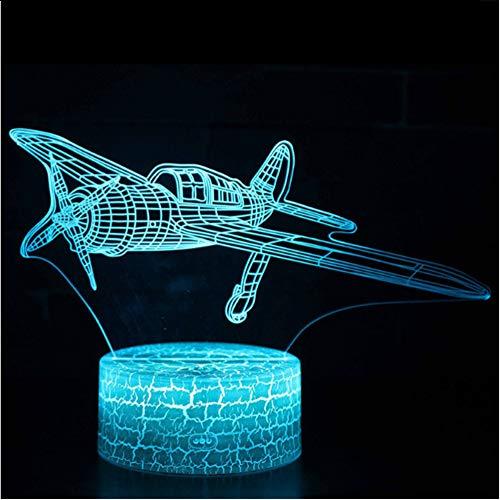 erflugzeug Thema 3D Lampe LED-Nachtlicht 7 Farbwechsel Touch Stimmung Lampe Weihnachtsgeschenk ()