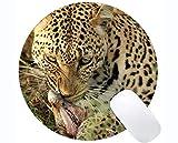 Yanteng Tapis de Souris Rond de Jeu, Tapis de Souris léopard de Famille de Chat de...