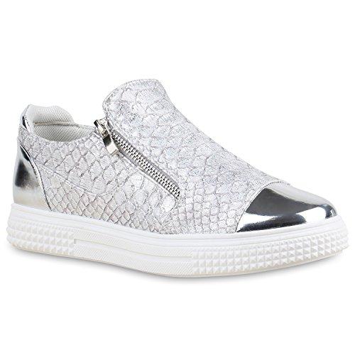 Damen Sneakers Zipper Metallic Cap Sneaker Low Kroko Print Sport Trainers Flach Turn Flats Slip-Ons Schuhe 134348 Silber 38 Flandell