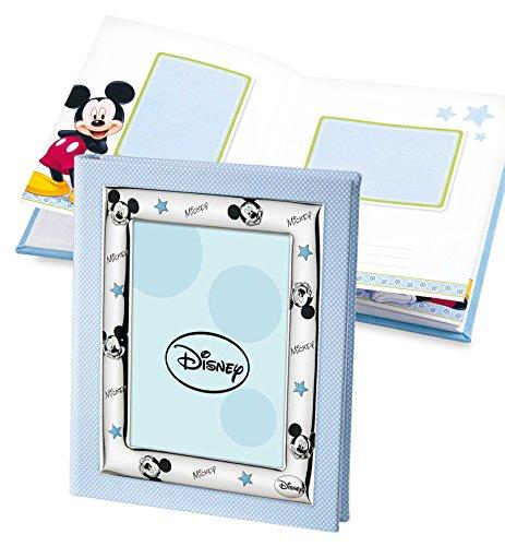 Disney Baby - Fotoalbum/Tagebuch mit Bilderrahmen auf dem Einband - ideal als Geschenk zur Kindstaufe oder zum Geburtstag - Micky-Maus-Design -