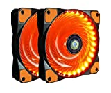 CONISY PC Lüfter, 120 mm LED Ultra Leise Gehäuselüfter für Computer Fällen Kühlerlüfter - Orange (2pack)