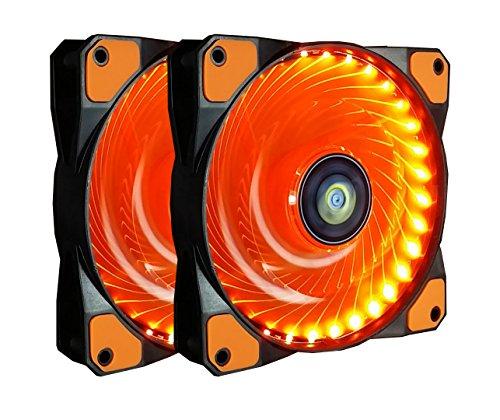 120mm PC Gehäuselüfter,CONISY 12cm LED Ultra Leise High Airflow RGB LED Lüfter für Computer Fällen Kühlerlüfter,2 Stueck pro Packung - Orange
