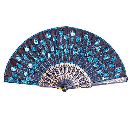 FiedFikt Handfächer, elegant, Bestickt mit Blumenpfau-Muster, Pailletten, Stoff, faltbar, handgefertigt, Geschenke für Tanz, Hochzeit, Party, chinesisches/Japanisches Vintage-Retro-Stil, h -