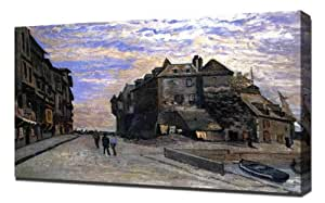 Monet - Le Lieutenance at Honfleur, 1864 - Reproduction d'art sur toile