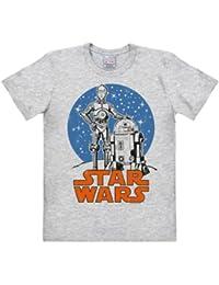 T-shirt Droïdes - Droids: R2-D2 & C-3PO - T-shirt La Guerre des étoiles - Star Wars - T-shirt à col rond de LOGOSHIRT - gris chiné - Design original sous licence