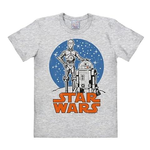 T-Shirt R2-D2 & C-3PO Krieg der Sterne - Star Wars - Rundhals Shirt von LOGOSHIRT - grau-meliert - Lizenziertes Originaldesign, Größe (Retro Roboter-kostüm)