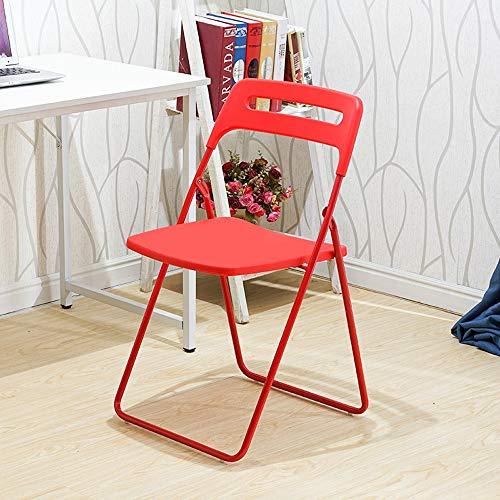 ZZW Tragbaren Klappstuhl, Mode Wohnzimmer Schlafzimmer Bürostuhl im Freien schwarzen Rahmen dicken Schwamm Esstisch Stuhl, blau, orange, rosa, rot (Color : Red)