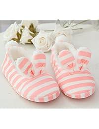 Zapatillas de zapatillas hogar sólido raya de invierno hacia fuera antideslizante zapatos zapatillas zapatillas de piso , red , 38-39