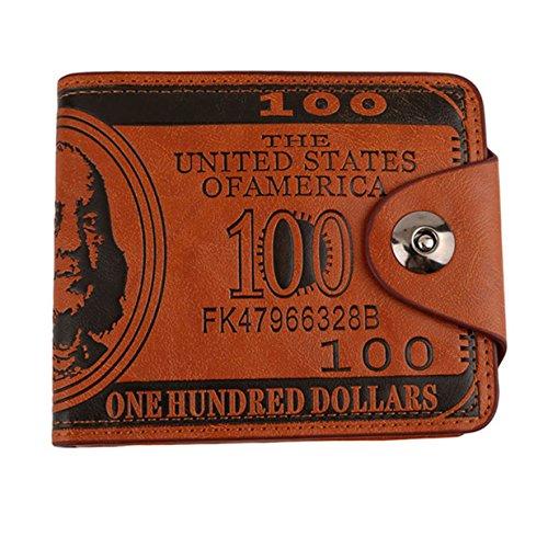 Lalang Herren-Taschen-Karte US-Dollar-Schein-Geld-Mappen Lustige Faltbare PU Dollar Geldbörse Wallets (braun) (Geld-scheine Lustige)