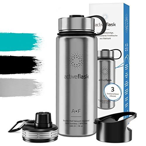 FLASK Isolierflasche + 3 Trinkverschlüsse | BPA frei - 1l / 0,5 Liter | Vakuum isolierte Edelstahl Thermosflasche | Wasserflasche für Büro, Sport, Schule, Kinder Fahrrad Outdoor ()