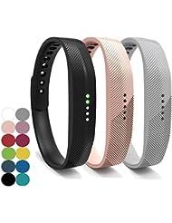 Fitbit Flex 2bandas, yefod silicona accesorios correa de pulsera pulseras de repuesto para 2016Fitbit Flex 2Fitness deporte actividad Tracker (un Set con 3diferentes colores), color Black+Khaki+Gray