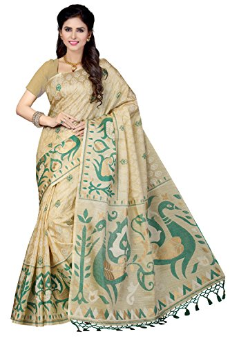 Rani Saahiba Art Silk Saree With Blouse Piece (SKR2482_Beige-Green_One Size)