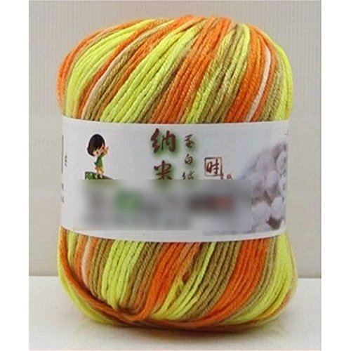 Näharbeit Mischung Fibroin Wolle Warm Garn Kaschmir Seide Wolle Strang Faser Kugel Grün & Orange