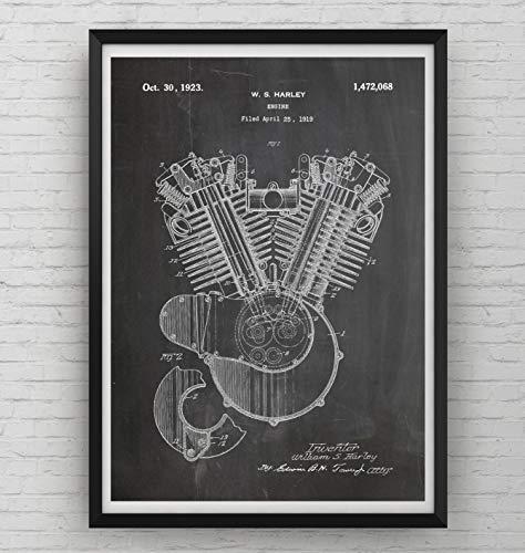 Harley Davidson Patent Poster - Motor - Motorrad Radfahrer Mauer Jahrgang Retro Mauer Zeichnungen Drucken Schlafzimmer Art Zimmer Kunst Entwurf Geschenke Vater - Rahmen nicht enthalten