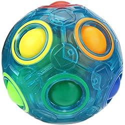 Koly Bola mágica del arco iris del reliever luminoso Diversión Cube Fidget Puzzle Educación Juguete anti-estrés de bolas de plástico cubo Twist Puzzle niños Juguetes Para Niños / Adultos (6.5*6.5*6.5cm, azul)