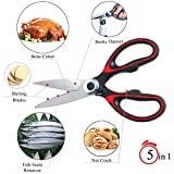 from Wellehomi Latest Sharp Kitchen Scissors Heavy Duty, Multifunction Purpose Utility Sharp Scissors, cooking Scissors for Chicken, Meat, Fish, Poultry, Vegetables, Herbs, Nuts is a Household Necessity | LifeTime Warranty by Wellehomi