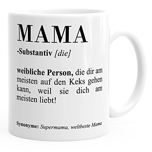 pa Bruder Schwester Definition Dictionary Wörterbuch Duden Geschenk-Tasse Muttertag MoonWorks® Mama weiß unisize ()