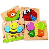 Holzpuzzle, Afufu Holzspielzeug ab 1 2 3 Jahren, 4 Stück Steckpuzzle Holz Holzspielzeug für Baby, Tier Holzpuzzle Puzzle Kleinkind Lernspielzeug für Kinder
