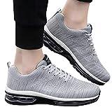 z-/uiefr Herrenschuhen Ineinander greifen Schuhe schnüren Sich Oben beiläufige Schuh Kursteilnehmer Sport laufende Doppeltes Netz fliegen gewebte Damenschuhe Schuhe (Grau, 38(CN) / 37(EU))