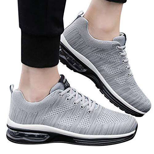 z-/uiefr Herrenschuhen Ineinander greifen Schuhe schnüren Sich Oben beiläufige Schuh Kursteilnehmer Sport laufende Doppeltes Netz fliegen gewebte Damenschuhe Schuhe (Grau, 38(CN) / 37(EU)) - Dexter Schuhe Frauen