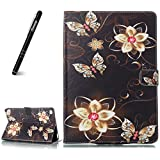 iPad Air 2 Hülle,Slynmax Superleicht SchutzhülleAbdeckung Smart Case Tasche Golden Butterfly Blume Ultra SlimFlip Case Standfunktion für Apple iPad Air 2 2014 Modell Number A1566/ A1567 Tablet
